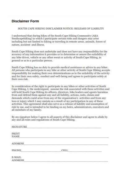 disclaimer form sample