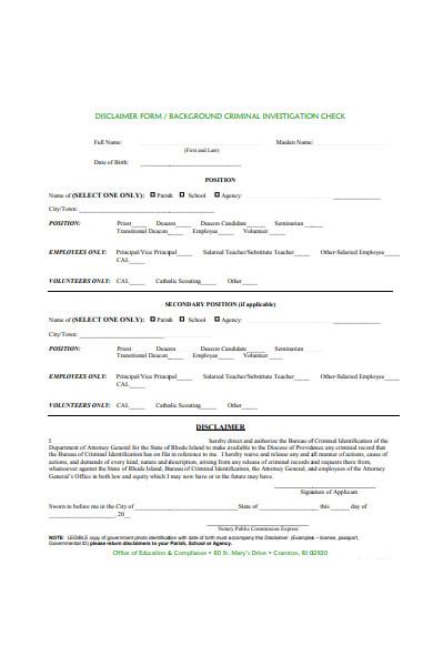 disclaimer form and criminal investigation check