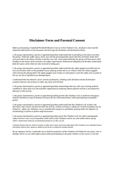 disclaimer form and parental consent