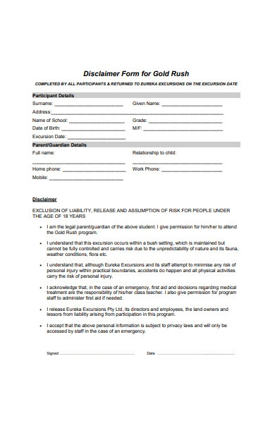 disclaimer form for gold rush