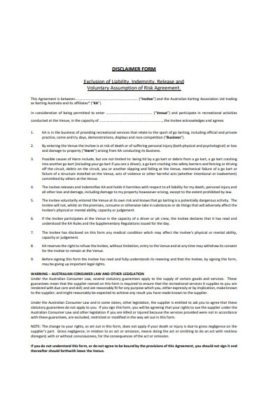 disclaimer form in pdf