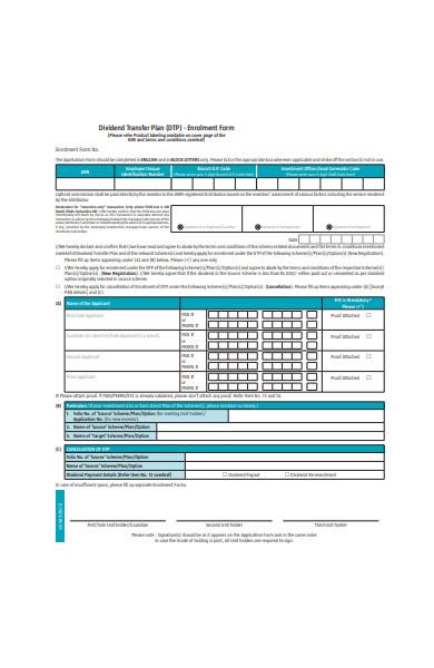 dividend transfer plan enrolment form