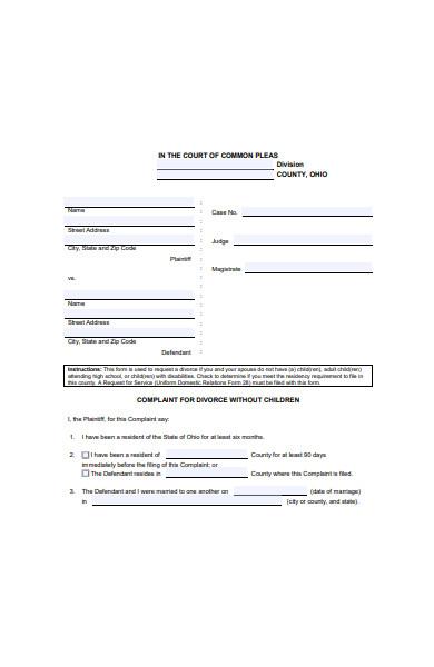 divorce complaint form
