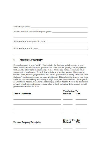 divorce form in doc