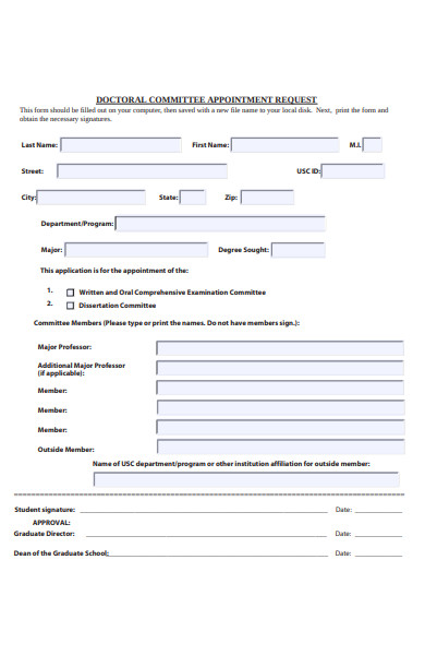 doctoral appointment request form