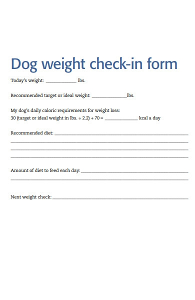 dog weight check in form