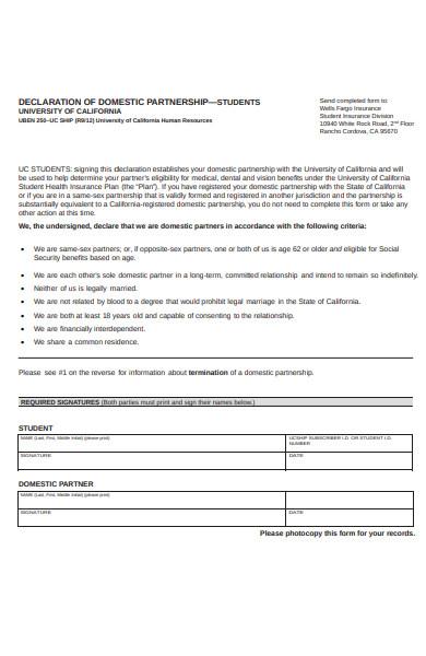 domestic partnership form
