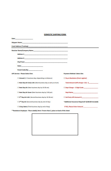domestic shipping form sample