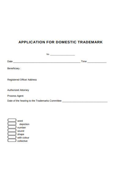 domestic trademark form