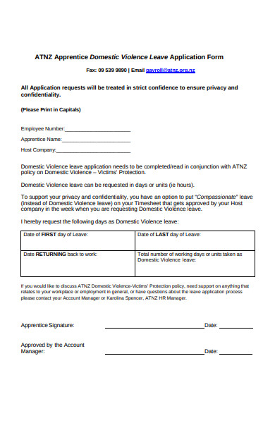 domestic violence leave application form