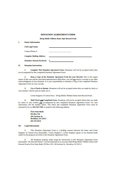 donation agreement form