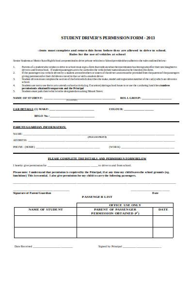 driver permission form