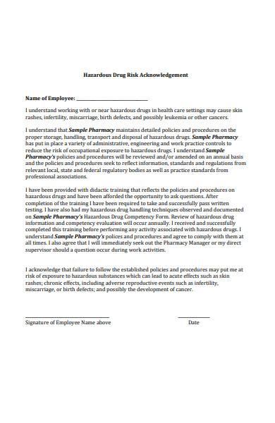 drug risk acknowledgement form