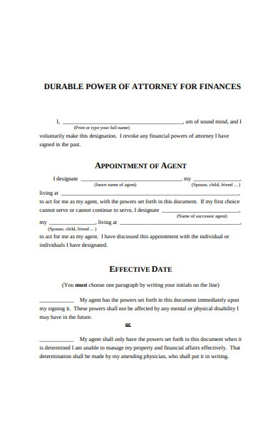 durable power of attorney form