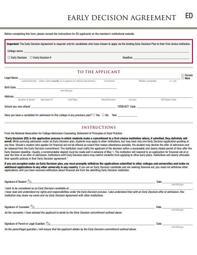 early decision agreement form