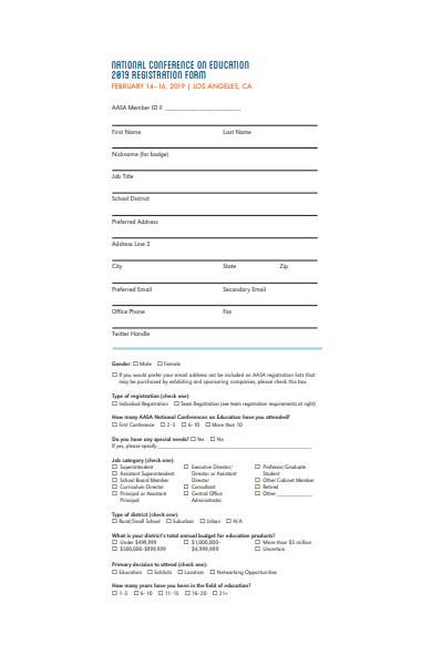 education conference registration form