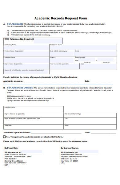 educational academic form