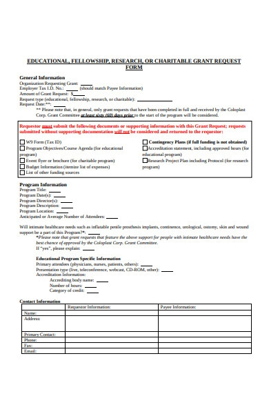 educational charitable grant request form