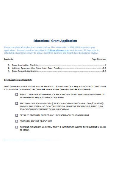 educational grant form