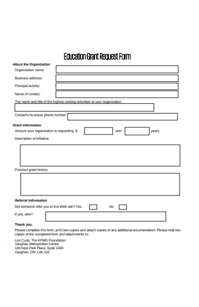 educational grant request form