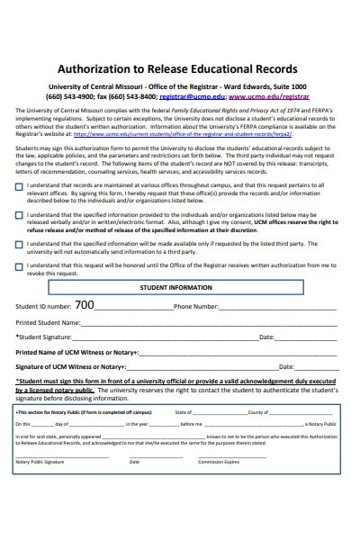 educational records form
