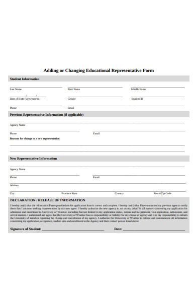 educational representative form
