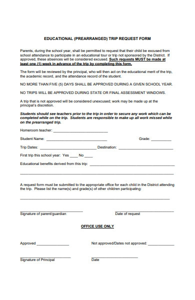 educational trip request form