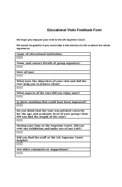 educational visits feedback form