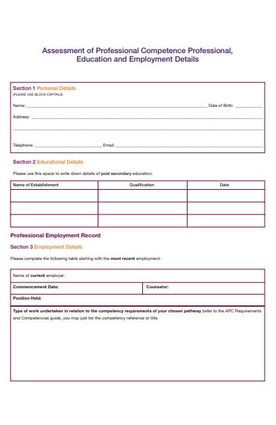 educational and employment details form