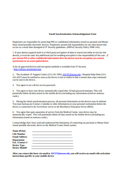 email synchronization acknowledgement form