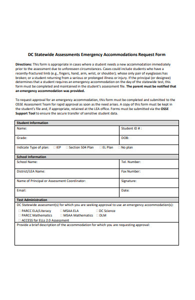 emergency accommodations request form