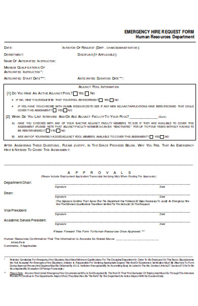 emergency hire request form