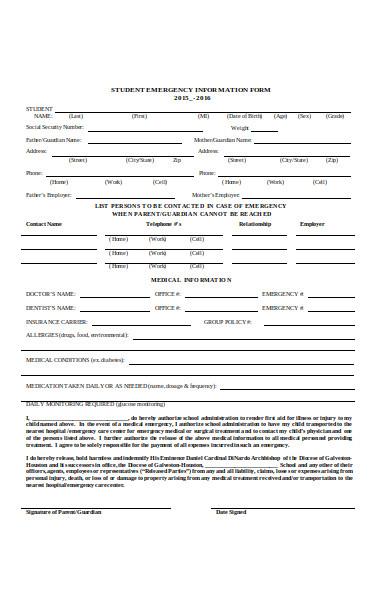 emergency information form