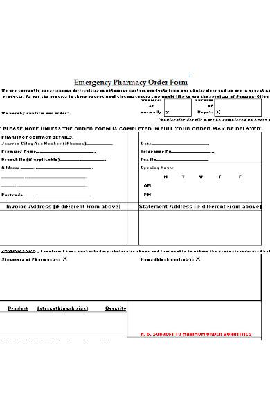 emergency pharmacy order form