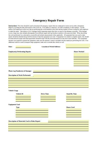 emergency repair form