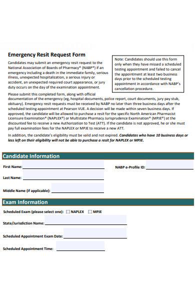 emergency resit request form