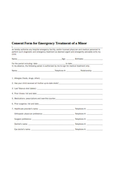 emergency treatment consent form