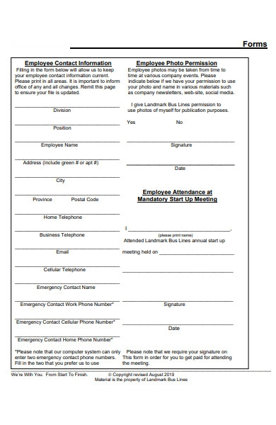 employee contact form