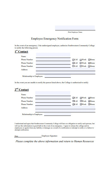 employee contract emergency notification form