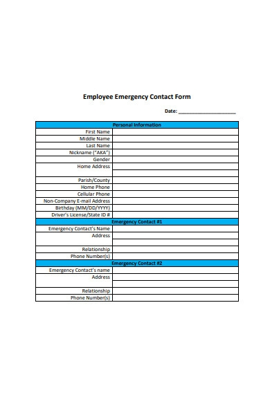 employee emergency contact form format
