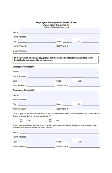employee emergency contact form in pdf