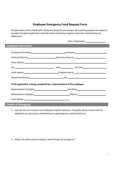 employee emergency fund request form