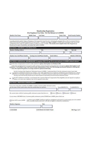 employee membership registration form
