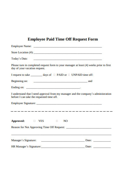 employee paid time off request form