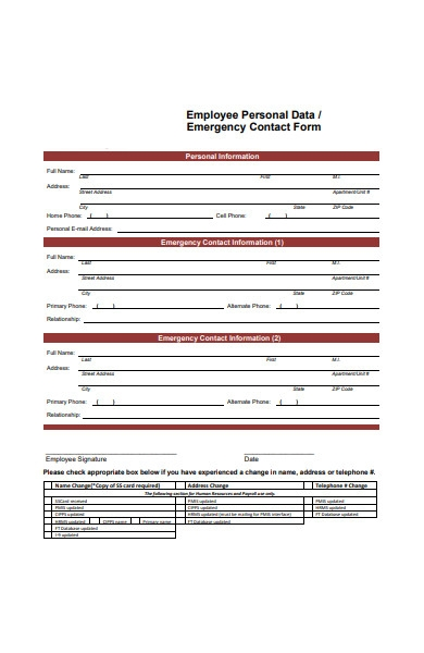 employee personal data contact form in pdf