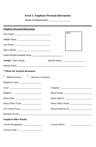 employee personal information form