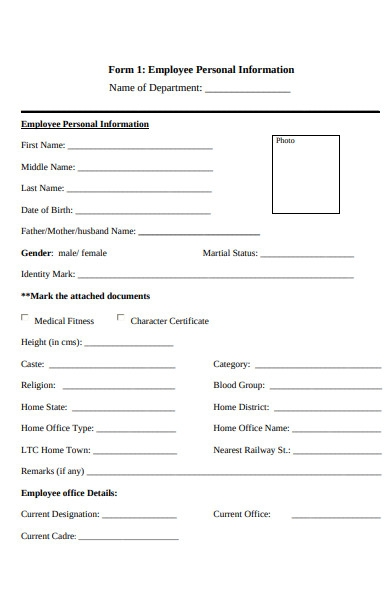 employee personal information forms