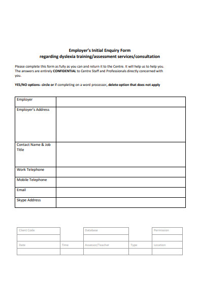 employers initial enquiry form