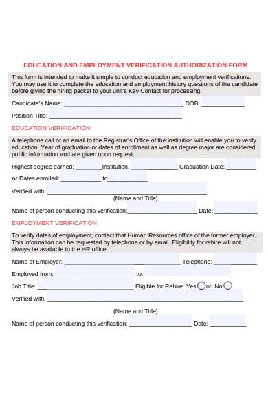 employment authorization verification form
