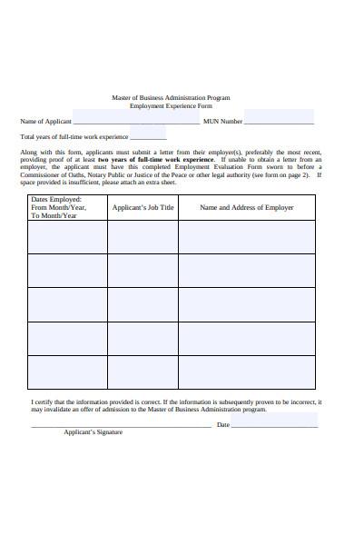 employment experience verification form